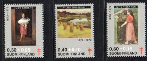 Finland Sc  B197-9 1973 Anti Tb, Art, Charity  stamp set mint NH