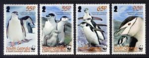 South Georgia Sc# 367-70 MNH WWF / Chinstrap Penguins