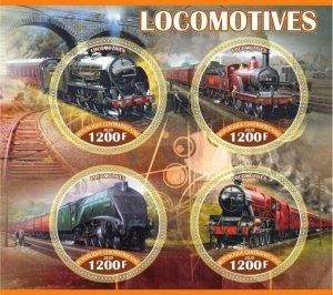 Stamps.Trains Locomotives Set 2 sheet perforated