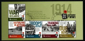 AUSTRALIA SGMS4167 2014 CENTENARY OF WORLD WAR I FINE USED