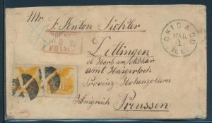 #116 VF+ HORIZ PAIR ON 1870 COVER TO KONIGREICH, GERMANY CORK CANCELS BU9165