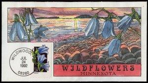 Collins Handpainted FDC Wildflowers: Minnesota Harebell (7/24/1992)