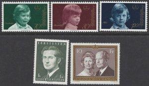 Liechtenstein #553-57 MNH set, Liechtenstein royalty, princes & princesses
