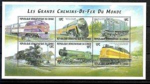 #8196 CONGO R.D. 2001 TRAINS OF THE WORLD MINISHEET YV 1522FV-GA MNH