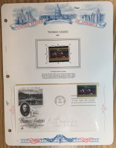 #1335 Thomas Eakins FDC and MNH Single in mount on souvenir page