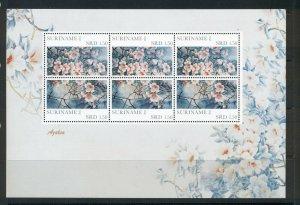 Suriname #1425 (2011 Azalias  set)  VFMNH sheet of three pairs CV $5.70