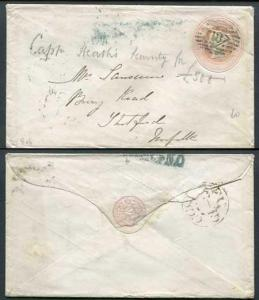 EP4b QV 1d Pink Envelope Size B SP2 Paper Used London Cancel