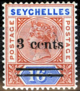 Seychelles 1901 3c on 16c Chestnut & Ultramarine SG38 Fine MNH