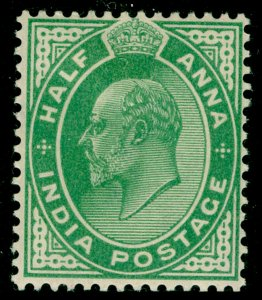 INDIA SG121, ½a yellow-green, M MINT.