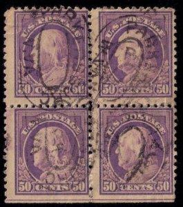US SCOTT #517 BLOCK OF FOUR 50c Red Violet USED Fine