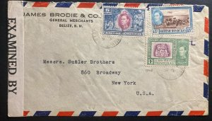1940s Belize British Honduras Censored Commercial Cover To New York USA