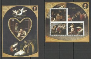 PE429 2015 MADAGASCAR MURILLO ART PAINTINGS BAROQUE KB+BL MNH STAMPS