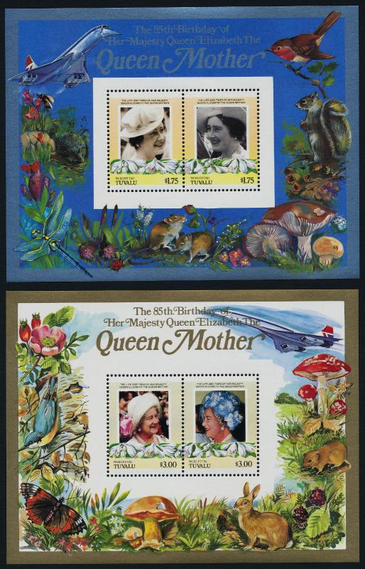 Tuvalu Nukufetau 49-50 MNH Queen Mother 85th Birthday, Concorde, Bird, Flower