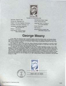 USA 2848 GEORGE MEANY SOUVENIR PAGE