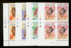 BARBADOS Sc#936-939 Complete Mint Never Hinged PLATE BLOCK Set