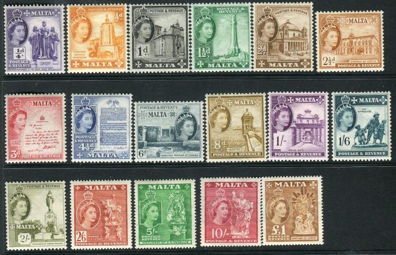 MALTA-1956-58  A mounted mint set to £1 Sg 266-282