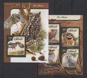 DJ032 2016 DJIBOUTI FAUNA BIRDS OWLS LES HIBOUX KB+BL MNH