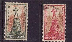 New Zealand-Sc#B26-7-used semi-postal set-Peter Pan statue-1945-