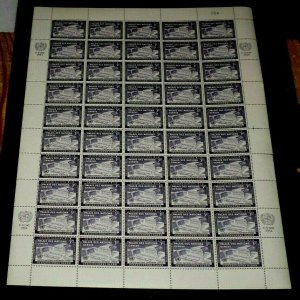 U.N.1954, NEW YORK #27, EUROPEAN OFFICE GENEVA. SHEET/50,CONTROL #054, NICE LQQK