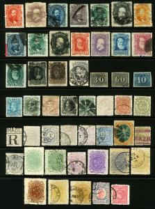 #23 - #111 1850-1893 Early Brazil Classics, Perf, Imperf & Roulettes, 49 items