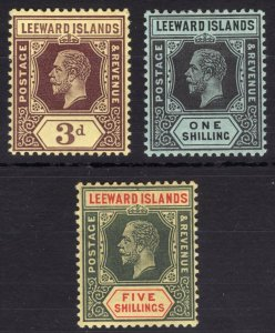 Leeward Is 1913 3d-5s GV WHITE BACK SG51a-57a Scott 58-60 LMM/MLH Cat£225($303)
