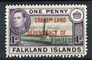 FALKLANDS; 1941 early GRAHAM LAND Optd. on GVI Mint hinged 1d. value