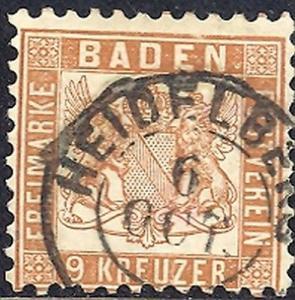 Baden  #23  VF  signed  Brettl