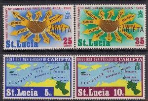 St Lucia 1969 QE2 Set of 4 stamps 1st Anniv CARIFTA Umm SG 264 - 267 ( 805 )