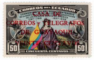 (I.B) Ecuador Postal : Anniversary 50c (Guayaquil overprint)