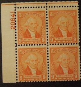 U.S. #714 9c Washington Plate Block of 4, MNH, F-VF