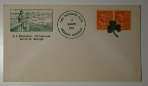 The Thirteen Club Detroit MI 1952 Philatelic clover fancy cancel 3 cloverleaf