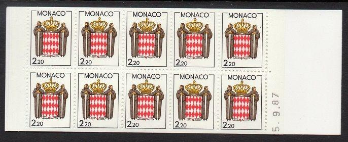 Monaco 1987-8 Coat of Arms Booklet VF MNH (1609a)