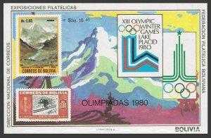 Bolivia C319 note 1,MNH.Michel Bl.89,MNH. Olympics Lake Placid-1980,Moscow-1972.