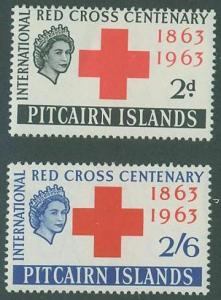 Pitcairn Islands SC#36-7 Red Cross Centenary 2d, 2sh6d, MNH