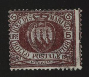 San Marino Scott 24 Used 5 Lire light cx violet and green 1894 issue CV $450