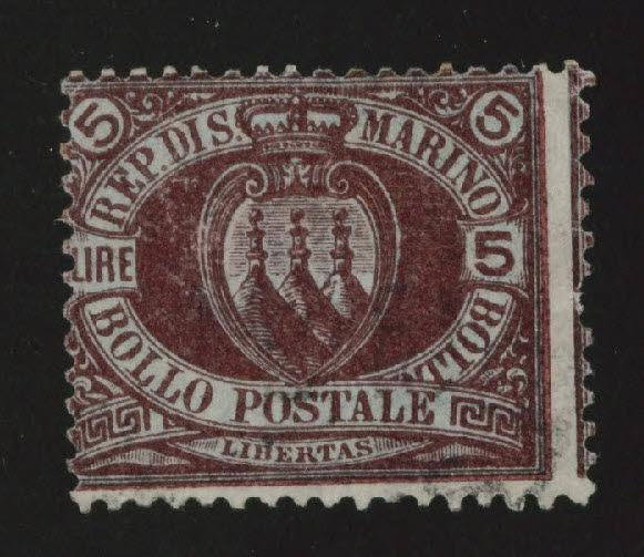 San Marino Scott 24 Used 5 Lire light cx violet and green 1894 issue CV $450