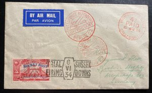 1934 Brighton England Rocket Mail Trial Flight Cover to BerlinGermany