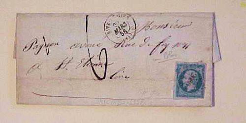 FRANCE   1858 #14Ic CAT.$22.00 RIVE #2686 FOUR MARGINS