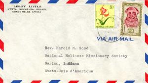 Ruanda Urundi 1.50F Buadi-Muadi Mask and 8F Gloriosa 1959 Usumbura Airmail to...