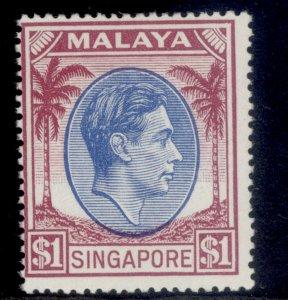 SINGAPORE GVI SG28, $1 blue & purple, NH MINT. Cat £17.