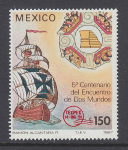 Mexico Sc 1698 MNH. 1991 150p Sailing Ship with red TEXPEX overprint, fresh