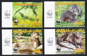 Ivory Coast WWF Speckle-throated Otter 4v Reprint Left margins MI#1353-1356B