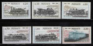 MONACO 1968 MNH SC.692/697 Nizza-Monaco Eisenbahn cent