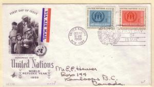 United Nations FDC Sc. # 75 / 76 Refugees     L 62
