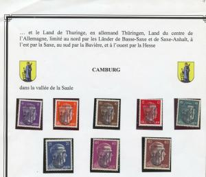 Locals 1945 Camburg overprint on 8 different Hitler stamps, MNH, no faults
