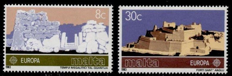 Malta 627-8 MNH Europa, Megalithic Temples, Fort St. Angelo