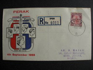 Malaya Perak Sc 124 FDC first day cover TES cachet some foxing see pictures