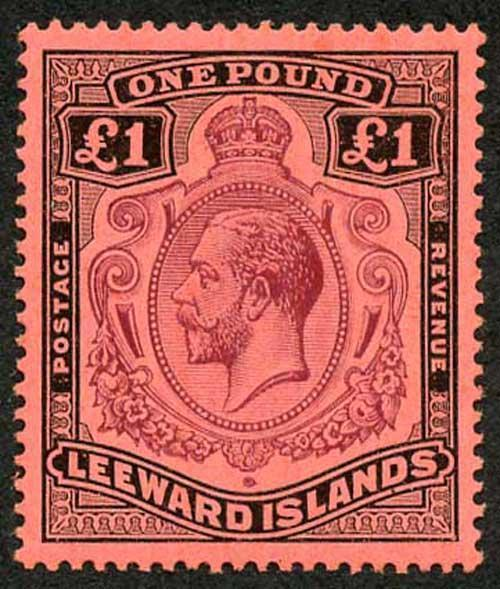Leeward Islands SG80 One Pound Purple and Black on Red U/M