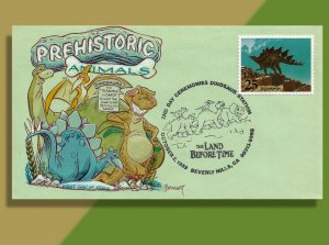 Dinosaurs Congregate in Beverly Hills - Handtinted FDC for Prehistoric Animals