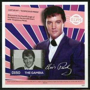 THE GAMBIA 2016  ELVIS PRESLEY LAST #1 HIT SUSPICIOUS MINDS S/S MINT NH